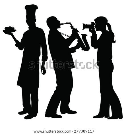 saxophonist playing,girl taking pictures, silhouette chef  - stock vector