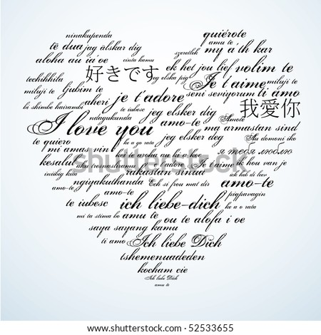 Say I love you in many languages - stock vector