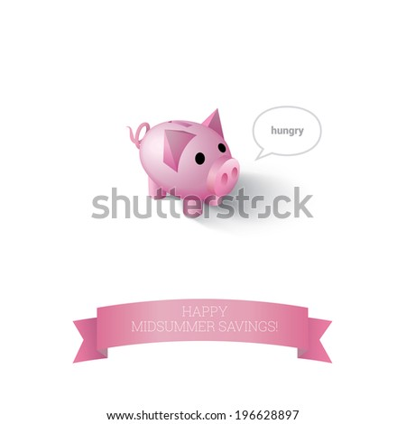 Scalable, adjustable and isolated cute money saving box pig bank illustration for advertisement, brochure and web site graphics element - stock vector