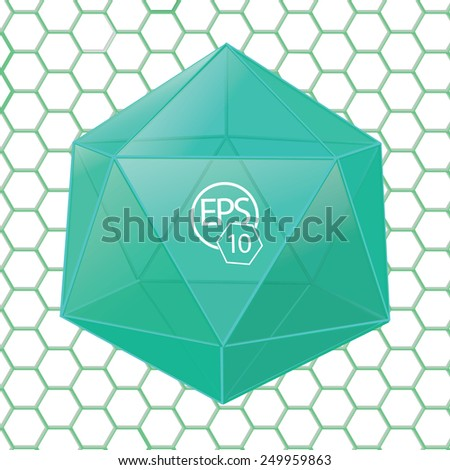Scalable Eps10 Vector Composition of a Hexagonal 3D Turquoise Object - stock vector