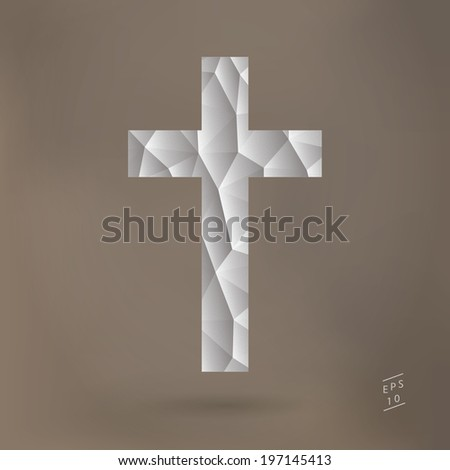 Scalable EPS10 vector cross illustration with 3d triangle pattern - white, brown version - stock vector