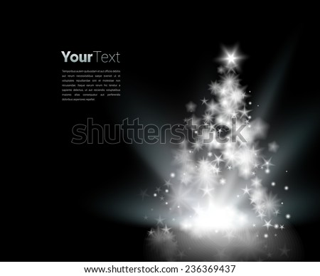 Scalable glowing Christmas tree  vector graphics composition  - stock vector