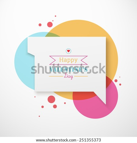 Scalable minimal 3D vector speech bubble on round colorful background for greeting, cover design, web page banner, text box  - valentine's day version - stock vector