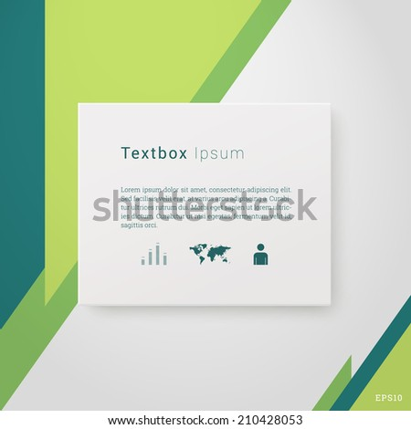 Scalable minimal 3d vector text box on wall with icon set for cover design, web page banner, layout, infographics - green version - stock vector