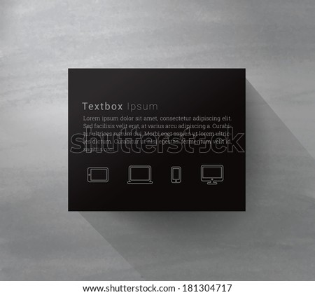 Scalable minimal text box vector on wall with cloud computing icons and long shadow for web page banner, layout, infographics - black version - stock vector