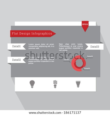 Scalable minimal vector illustration of infographic template in flat ui design with light bulb icon set and diagram for web site, presentation and layout - grey, red version - stock vector
