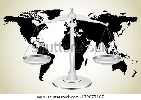 Scale and world map - stock vector