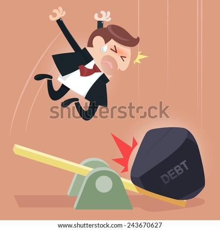 Scale between businessman and debt burden, which debt gain advantage or heavier than man. Business concept in debt burden. - stock vector