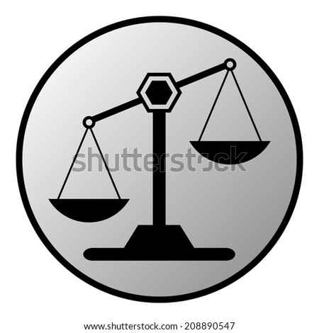 Scale button on white background. Vector illustration. - stock vector
