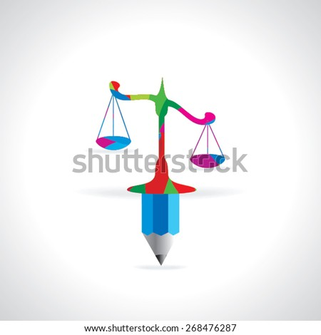 scale connect with pencil vector illustration  - stock vector