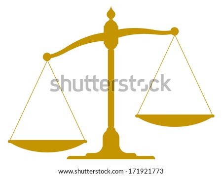 scale illustration of the silhouette of an unbalanced vintage scale with empty pans showing one side weighted down more than the other depicting imbalance, inequality and justice - stock vector