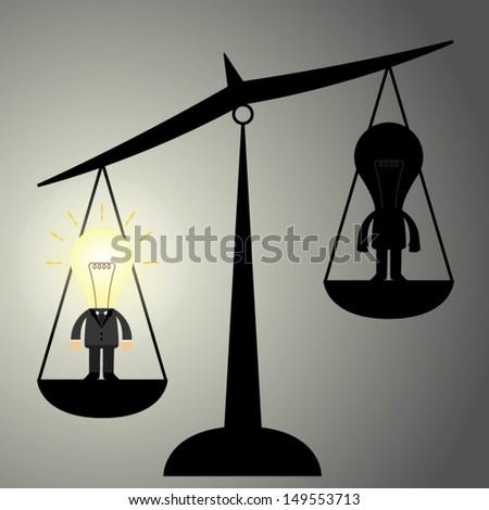 scale of businessman idea heavy than no idea.eps 10 vector illustration concept - stock vector