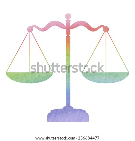 Scales balance icon. Vector illustration. Watercolor effect - stock vector
