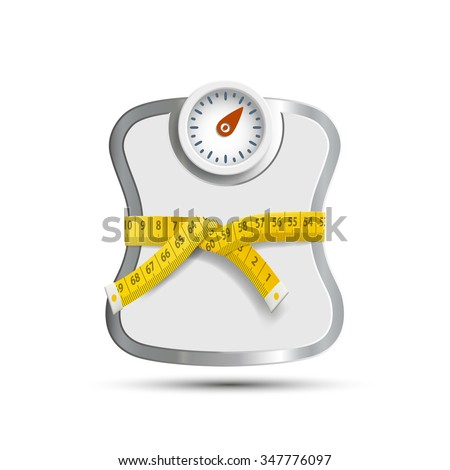 Scales for weighing. Measuring tape. Stock vector illustration. - stock vector