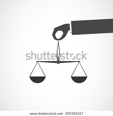 scales in hand icon - stock vector