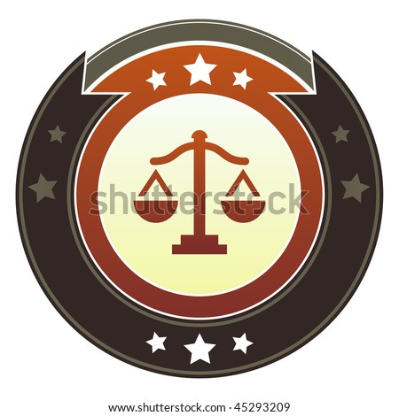 Scales, justice, balance, or equality icon on round red and brown imperial vector button with star accents - stock vector
