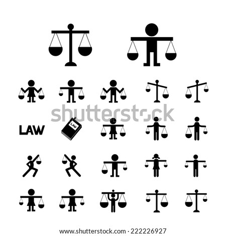 scales justice icon vector set  - stock vector