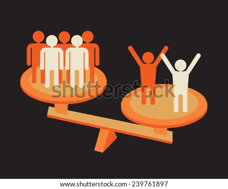 scales measuring team work success  - stock vector