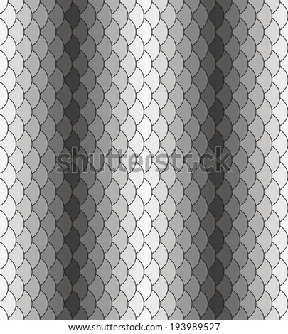 Scales monochrome black-white repeating pattern. Seamless texture - stock vector