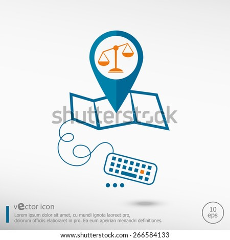 Scales of Justice sign and pin on the map. Line icons for application development, creative process.  - stock vector
