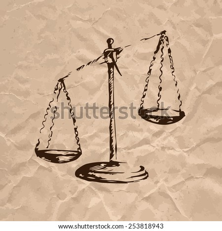 Scales of Justice. Sketch on crumpled kraft paper background. Vector illustration. - stock vector