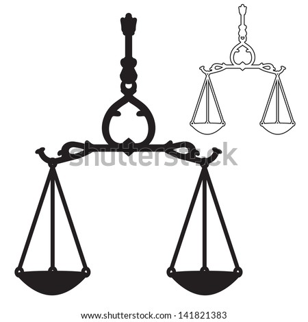 Scales of Justice symbol silhouette and outline vector - stock vector