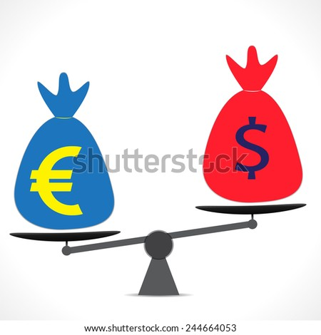 Scales with Dollar and Pound Sterling symbols. Vector. - stock vector