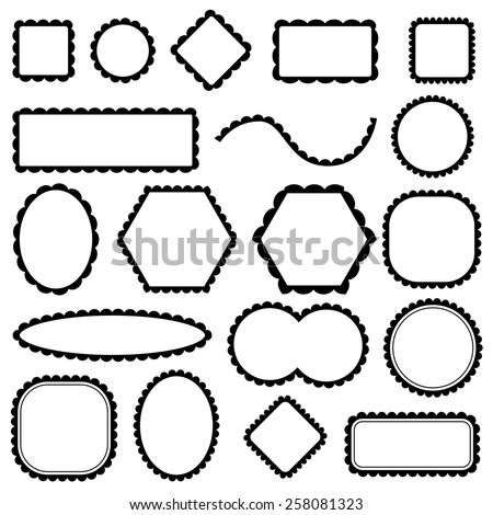 scalloped frames set, vector - stock vector