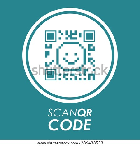 Scan QR Code design over blue background, vector illustration - stock vector