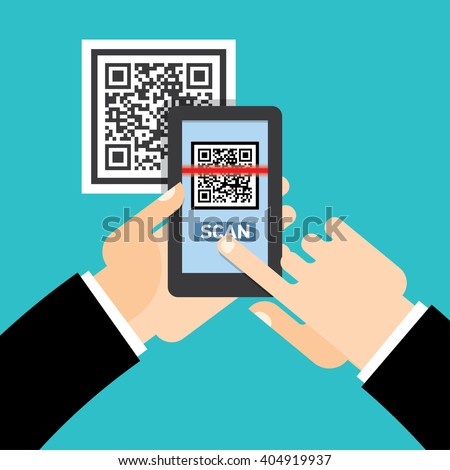 Scan QR code  to Mobile Phone - stock vector