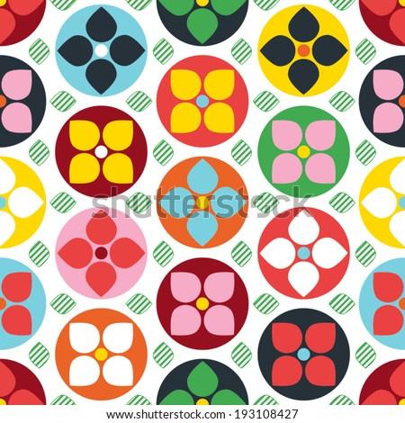 Scandi Polka Dot Flower Seamless Wallpaper - stock vector