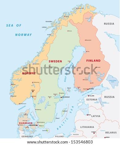 scandinavia map - stock vector
