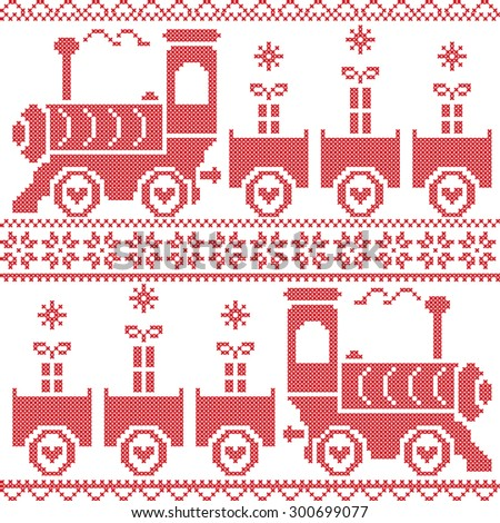 Scandinavian Christmas Nordic Seamless Pattern with gravy train, gifts, stars, snowflakes, hearts, snow, in cross stitch pattern  - stock vector