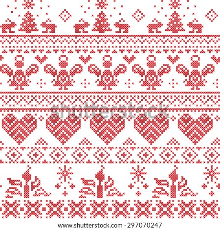 Scandinavian Nordic Christmas seamless cross stitch pattern with angels, Xmas trees, rabbits, snowflakes, candles in white and red with decorative ornaments   - stock vector