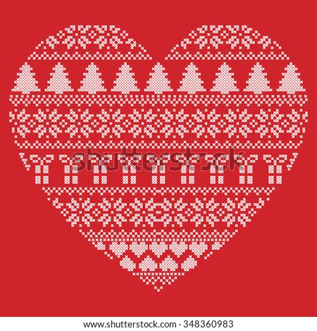 Scandinavian Nordic winter stitch, knitting  christmas pattern in  in heart shape shape including snowflakes, xmas trees, christmas presents, snow, stars, decorative elements, ornaments  in red   - stock vector