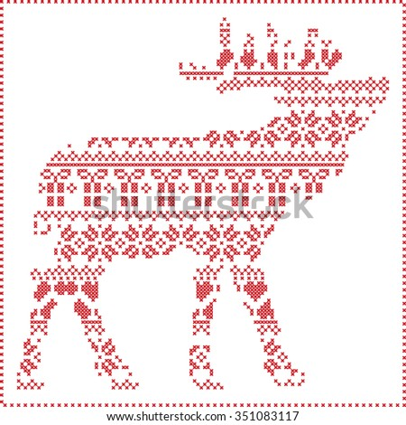 Scandinavian Nordic winter stitching  knitting  christmas pattern in reindeer body  shape  including snowflakes, hearts xmas trees christmas presents, snow, stars, decorative ornaments  in white   - stock vector