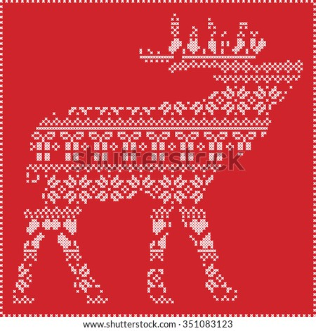 Scandinavian Nordic winter stitching  knitting  christmas pattern in reindeer body  shape  including snowflakes, hearts xmas trees christmas presents, snow, stars, decorative ornaments  in red  - stock vector