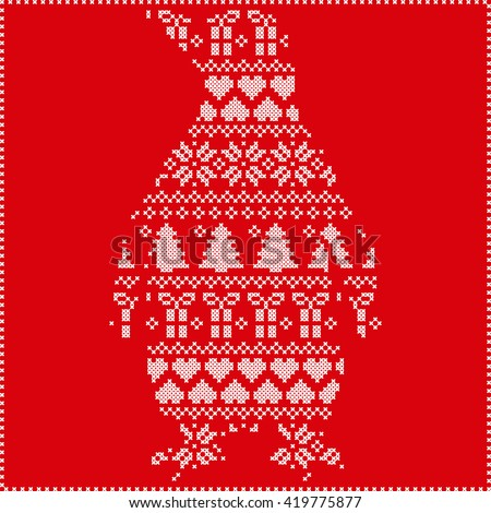 Scandinavian Nordic winter stitching  knitting  christmas pattern with penguin shape including snowflakes, hearts, trees christmas presents, snow, stars, decorative ornaments on red background  - stock vector