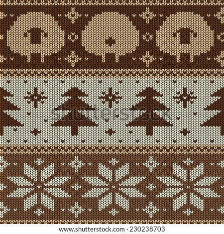 Scandinavian seamless knitted pattern with funny cute sheep, snowflakes and christmas tree - stock vector