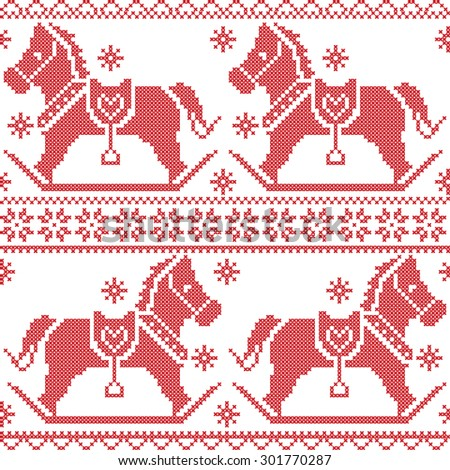 Scandinavian seamless Nordic Christmas pattern with rocking horses, snowflakes, hearts, snow, stars, decorative ornaments in red cross stitch  - stock vector