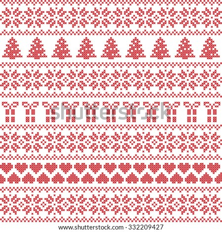 Scandinavian style, Nordic winter sweater stitch, knit pattern including star, Xmas tree, Xmas gift, heart element in red on white background in seamless style  - stock vector