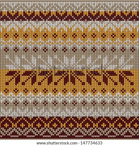 Scandinavian style seamless knitted pattern. Colors: yellow, white, brown, grey - stock vector