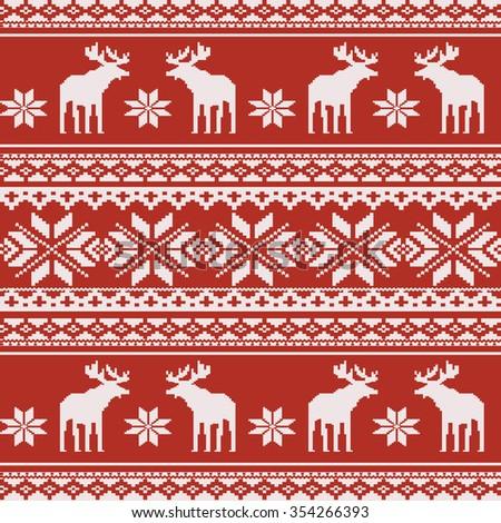 Scandinavian style seamless  pattern with deers. EPS 8 - stock vector
