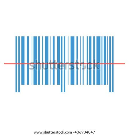 Scanning bar-code red laser line. - stock vector