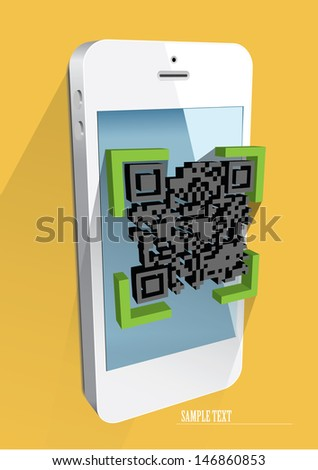 Scanning QR code with smart phone. eps 10 vector. - stock vector