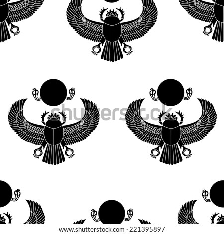 Scarab silhouette vector seamless pattern illustration clip art - stock vector