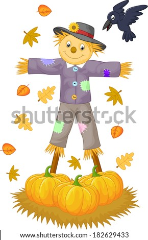 Scarecrow cartoon - stock vector