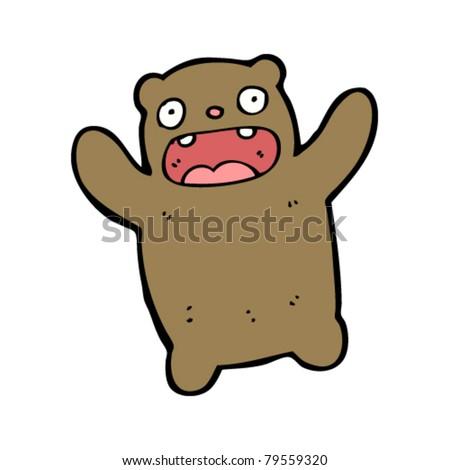 scared bear cartoon - stock vector