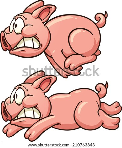Scared pig running. Vector clip art illustration with simple gradients. Each in a separate layer. - stock vector