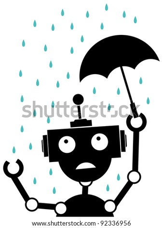 Scared robot stuck in the rain vector illustration - stock vector